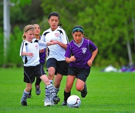 Girls  soccer training